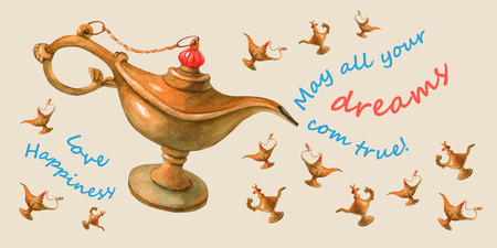 watercolor illustration of magical Aladdins genie lamp. Pale yellow background Stock Photo