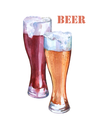 Glasses with light and dark beer. Watercolor illustration on white background. Concept of bar, pub, beer demonstration and Oktoberfest.