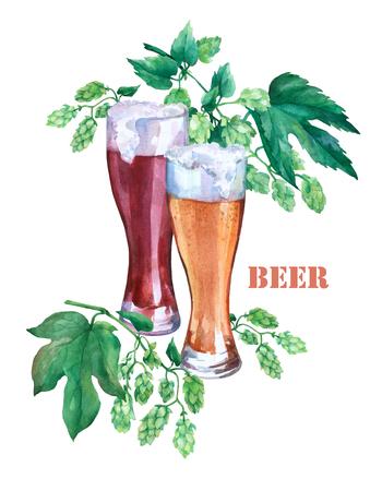 光と闇のビールとグラス。緑支店ホップ。白い背景の水彩画のイラスト。コンセプトのバー、パブ、ビール デモ、オクトーバーフェスト。