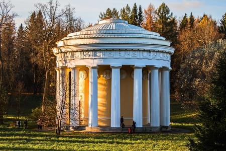 Temple of Friendship in Cameron. Pavilion-rotunda in Pavlovsk Park.