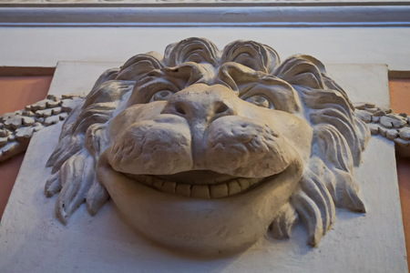 Mask in the form of a lions snout. Unexpected moldings in Pavlovsky Palace.