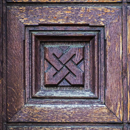 Wooden door of the temple. Church of the Epiphany on Gutuevsky Island in St. Petersburg. Фото со стока