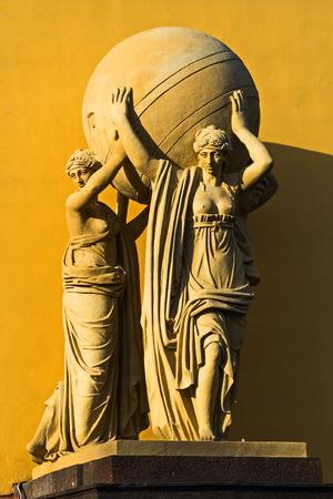 Sea nymphs bearing terrestrial sphere. Sculptural groups decorating the Admiralty building Petersburg.
