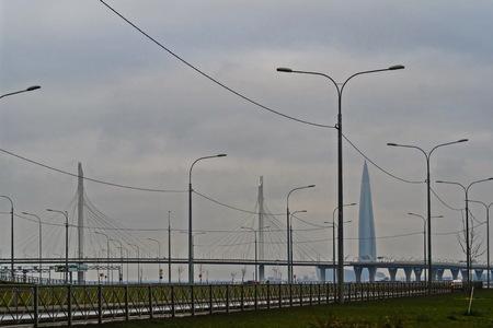 High speed. Modern buildings of St. Petersburg.