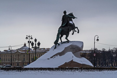 Bronze horseman. Monument to the Russian Emperor Peter the Great. Saint-Petersburg. February.