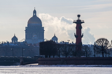 View of the Spit of Vasilievsky island and St. Isaac's Cathedral. February in St. Petersburg.