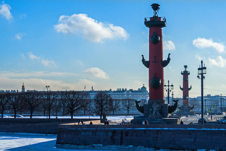 View of the Spit of Vasilievsky island. February in St. Petersburg. Фото со стока