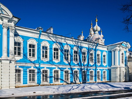 White Baroque lace on the blue facades of Rastrelli. Smolny Cathedral in St. Petersburg.