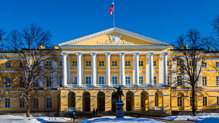 The first higher education institution for women in Europe. Smolny Institute of Giacomo Quarenghi in St. Petersburg.