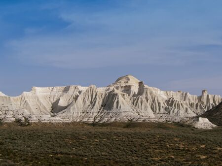 Chalk cliffs and ledges of the plateau Aktolagai. Plateau Aktolagai, Kazakhstan 2019.Expedition site Turister.ru.