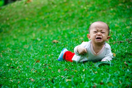 bebe gateando: llorando en un campo verde