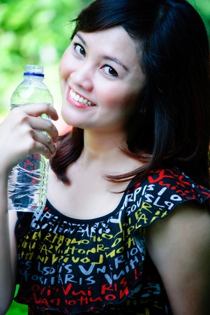 drinking mineral water