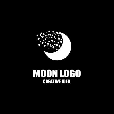 simple vector logo of the moon in the sky Logos