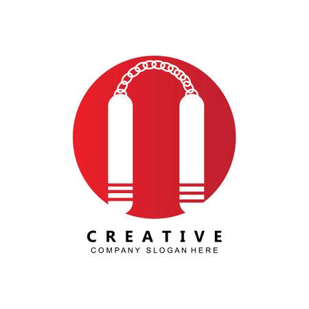 kung fu samurai fighting tools logo template vector icon Logo
