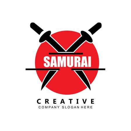 kung fu samurai fighting tools logo template vector icon