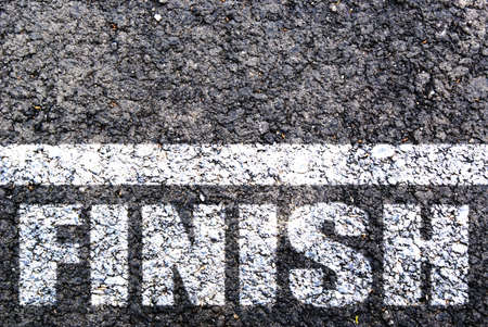 Finish line on asphalt. Background Stock Photo