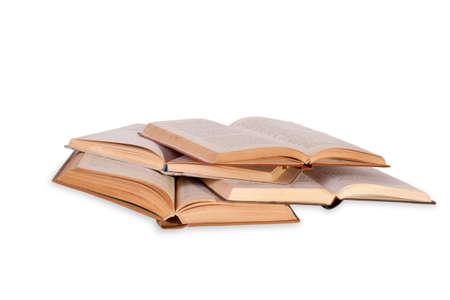 Open books isolated on white background photo