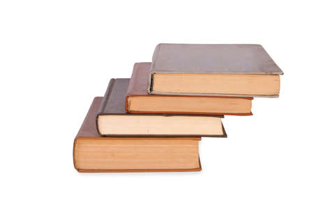 book stairs isolated on white background photo
