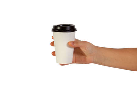 cup  coffee: disposable cup of coffee in hand Stock Photo