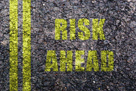risk ahead: risk ahead sign showing business concept with copyspace