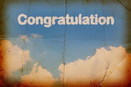 acclaim: Congratulation a cloud word on sky