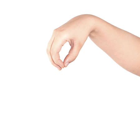 attention grabbing: Hand pose like picking something isolated on white