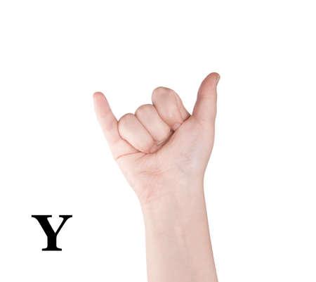 asl sign: Finger Spelling the Alphabet in American Sign Language (ASL). The Letter Y