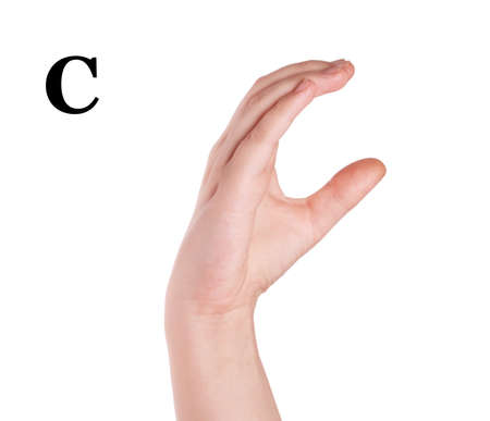 Finger Spelling the Alphabet in American Sign Language (ASL). The Letter C