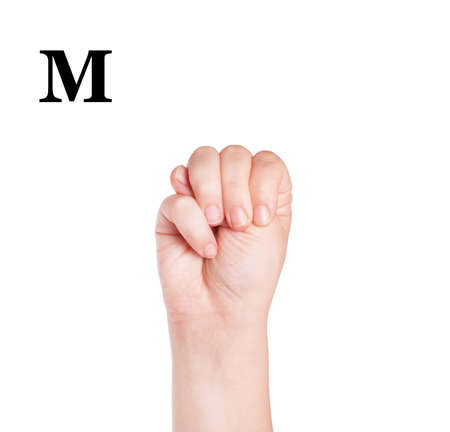 asl sign: Finger Spelling the Alphabet in American Sign Language (ASL). The Letter M