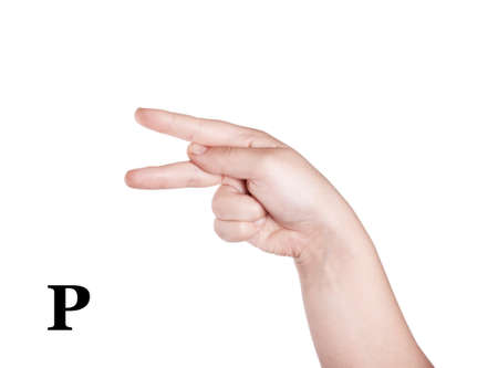 asl: Finger Spelling the Alphabet in American Sign Language (ASL). The Letter P