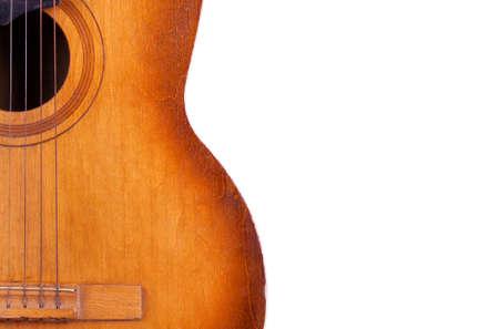 musica clasica: guitarra ac�stica aislada en el primer blanco del fondo Foto de archivo