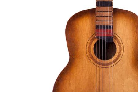 guitarra acustica: guitarra acústica aislada en el primer blanco del fondo Foto de archivo