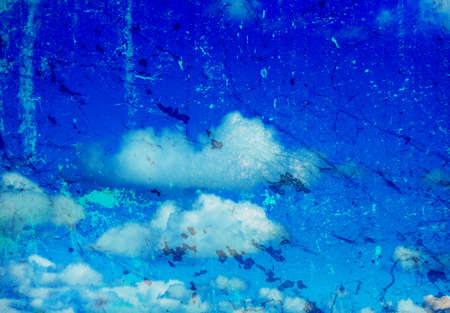 grunge image: grunge image of blue sky with clouds Stock Photo