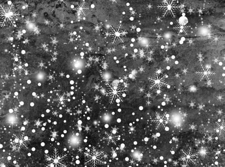 rime frost: winter background with beautiful various snowflakes Stock Photo