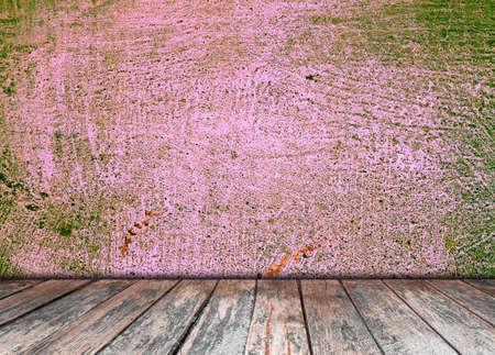on wood floor: room interior vintage with wood floor background Stock Photo