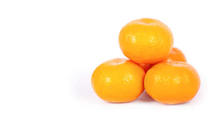 background summer: Ripe mandarins isolated on a white background