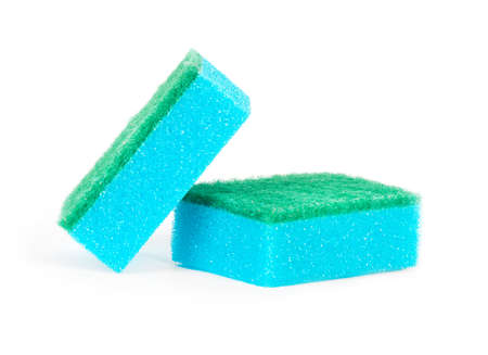domestic kitchen: Image of colored sponges isolated close up. Stock Photo