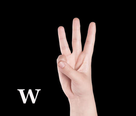 asl sign: Finger Spelling the Alphabet in American Sign Language (ASL). The Letter O Stock Photo