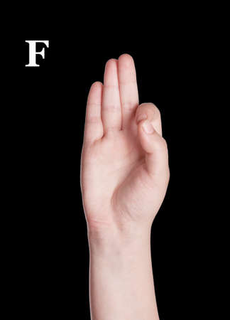 asl: Finger Spelling the Alphabet in American Sign Language (ASL). The Letter O Stock Photo