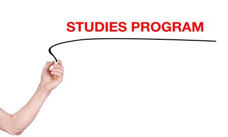 highlighter pen: Studies program word write on white background by men hand holding highlighter pen
