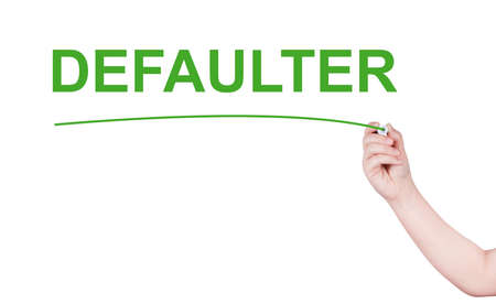 automatically: Defaulter word write on white background by woman hand holding highlighter pen Stock Photo