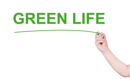 vivacious: Green life word write on white background by woman hand holding highlighter pen Stock Photo
