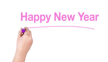 highlighter pen: Happy New Year  word write on white background by woman hand holding highlighter pen Stock Photo