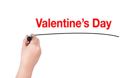 highlighter pen: Valentines day word write on white background by woman hand holding highlighter pen