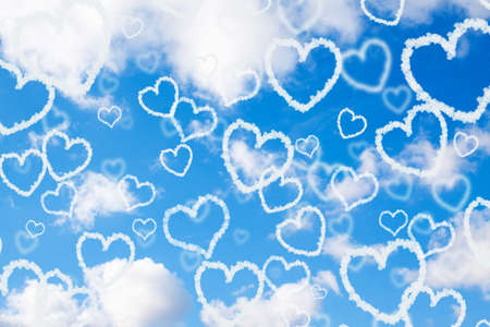 flecks: Cloud hearts in the sky. Valentines day background