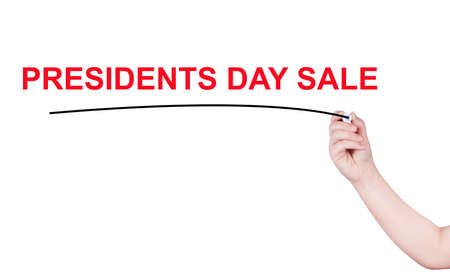 president's day: Presidents Day sale word written by man Stock Photo