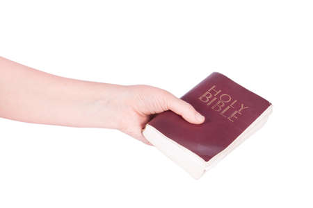 background people: hand holds the Bible on a white background Stock Photo
