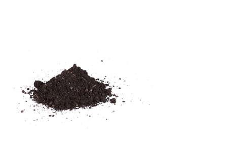 humus soil: Pile heap of soil humus isolated on white background