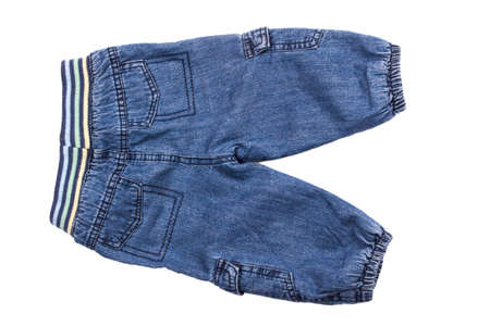 childrens wear: Childrens wear - jeans isolated over white background.