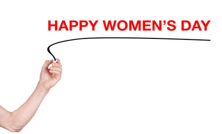 highlighter pen: Happy womens day word write on white background by woman hand holding highlighter pen Stock Photo